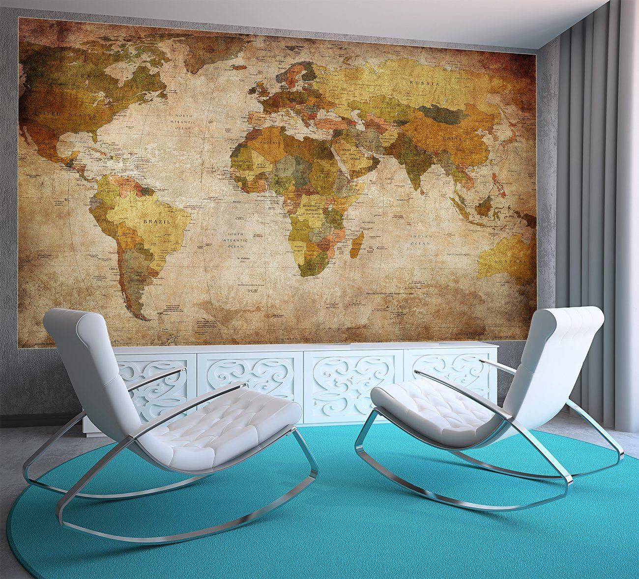 Poster Küche Retro Weltkarte Poster Xxl Fototapete Retro World Map