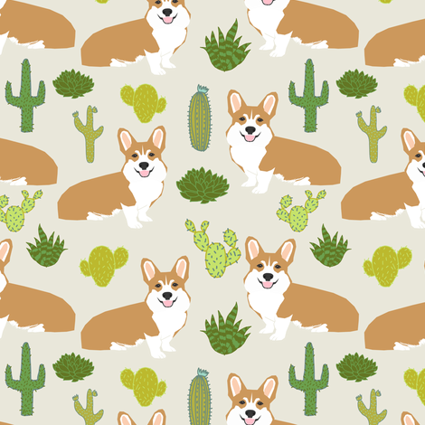 Cute Wallpapers Drawing Of Puppy Tumbler Corgi Corgis Cactus Plants Light Background Nursery Baby