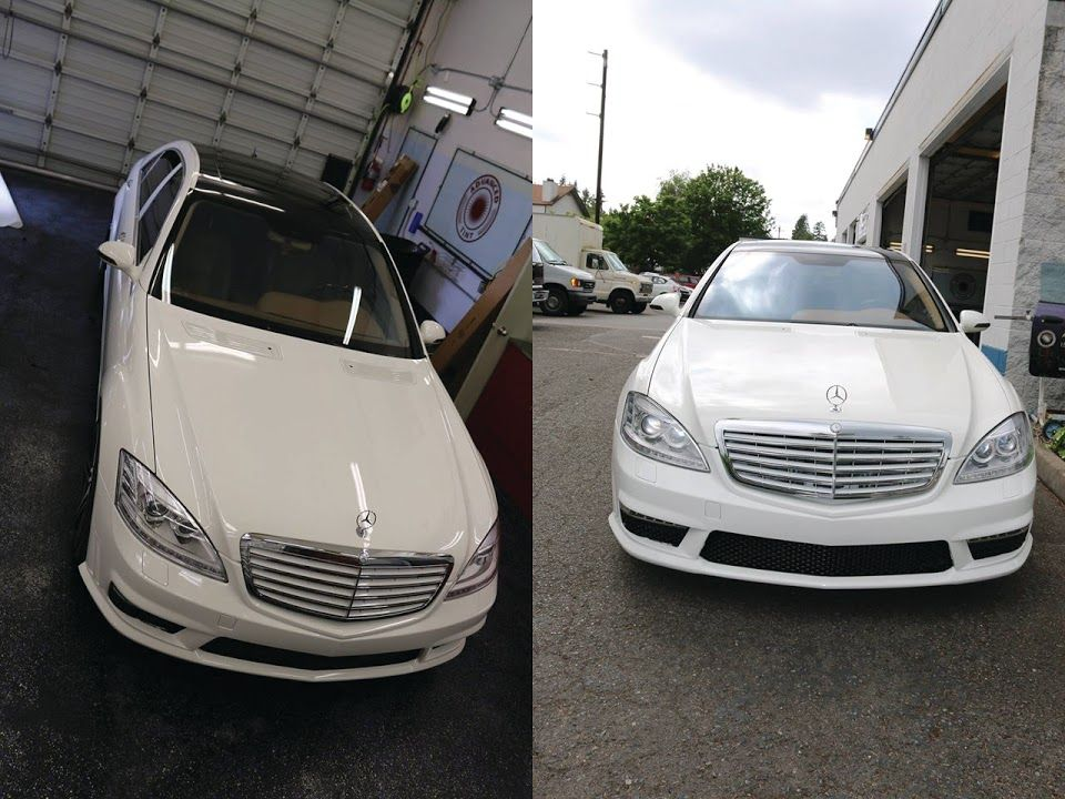 Gloss Black Roof Wrap Mercedes Benz S550 2007 With Amg Package Mercedes Benz S550 Car Graphics Commercial Window Tinting