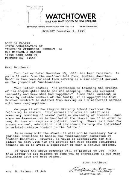 Watchtower Letter Regarding Child Molester Jonathan Kendrick