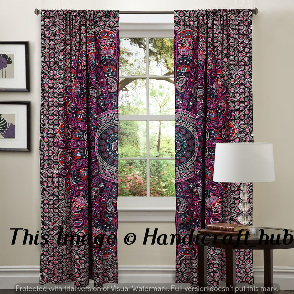 Boho window curtains - Details About Indian Drape Mandala Window Curtains Balcony Room Door Decor Curtain Boho Set
