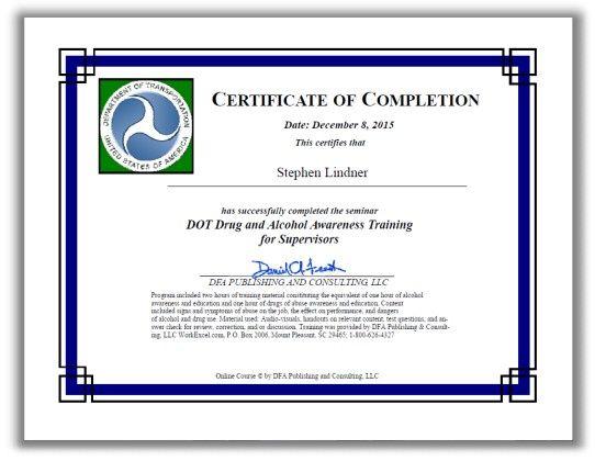 DOT Supervisor Training Certificate is available with online drug - training certificate