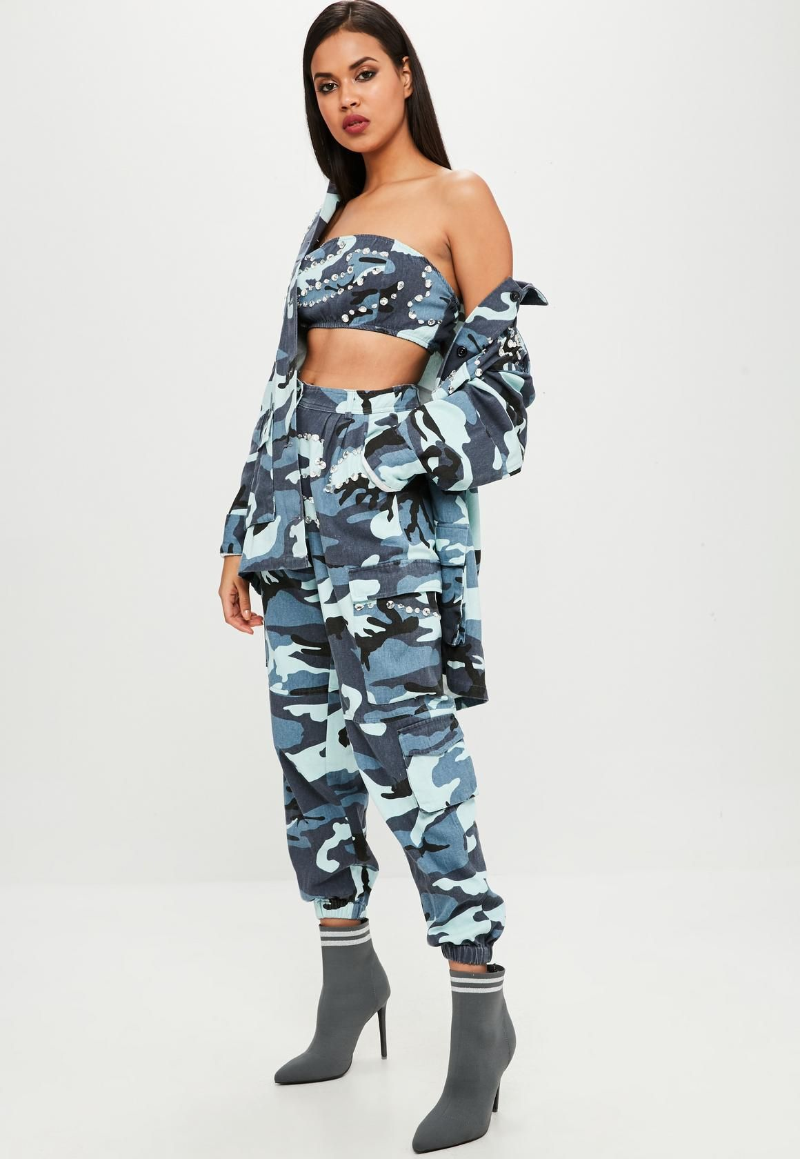 a0373a8f Missguided - Carli Bybel x Missguided Blue Camo Cargo Pants ...