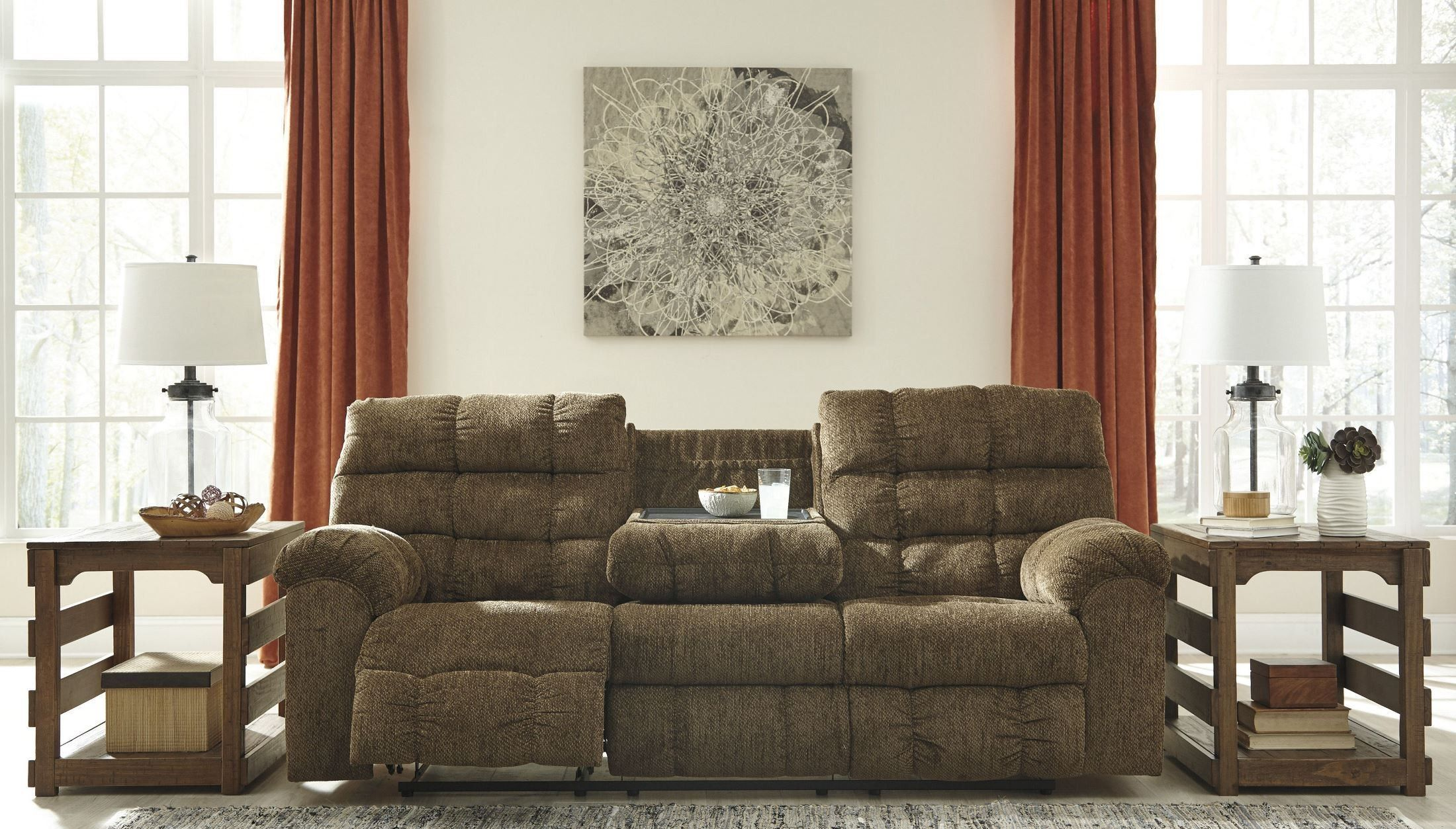 Antwan Truffle Reclining Sofa With Drop Down Table