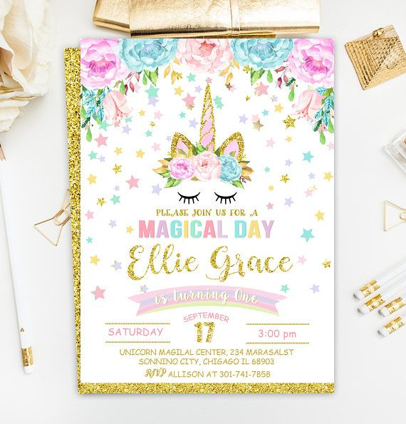 Unicorn Invitation Birthday Rainbow