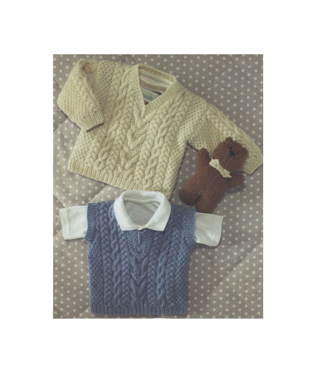 Childrens Sweater and Pullover Knitting Pattern PDF Boys or Girls, Babies and Toddlers 16, 18, 20, 22, 24, 26 & 28 inch chest #children'ssweaters