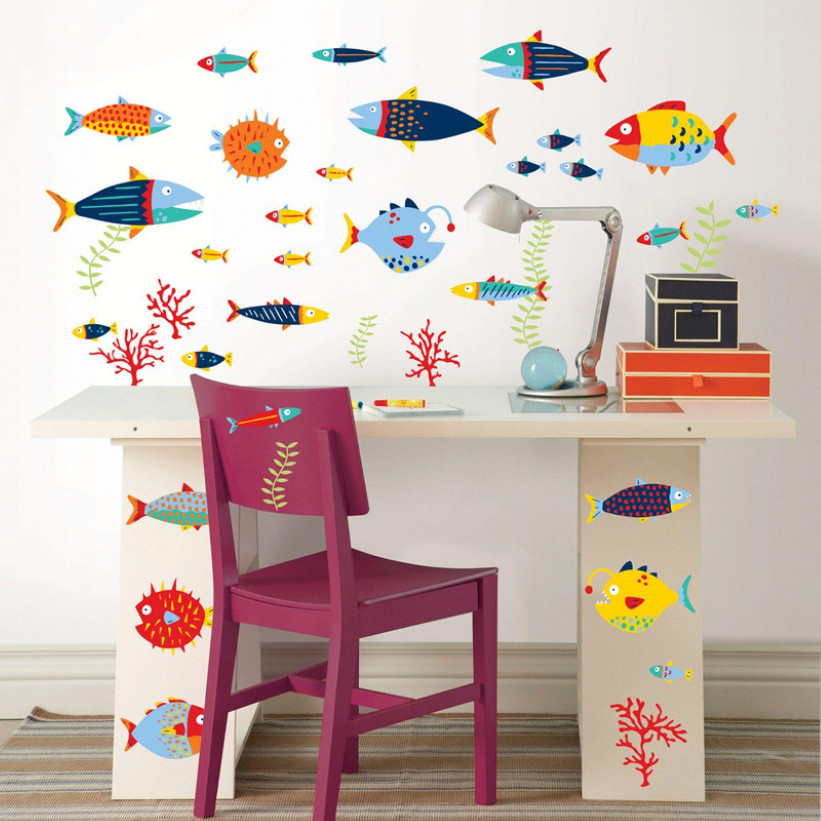 Wall Pops Fish Tales Wall Decal Kit Kids Decor Vinyl Wall