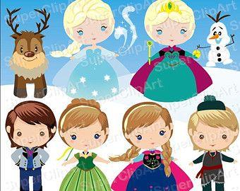 Snow frozen. Instant download princess clipart