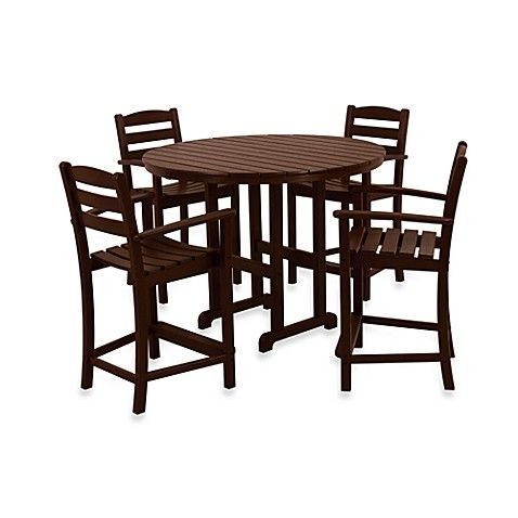 Polywood La Casa 5 Piece Outdoor Counter Height Table Set