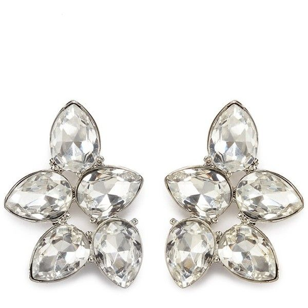 Kenneth Jay Lane White+Crystal Teardrop Clip Earring White