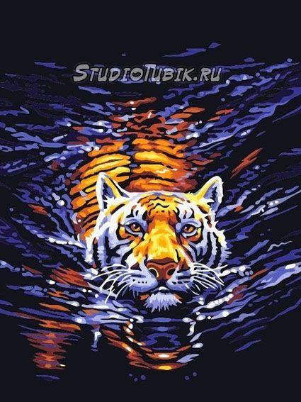 Картины известных художников : Тигр плывёт, худ.Томас ...