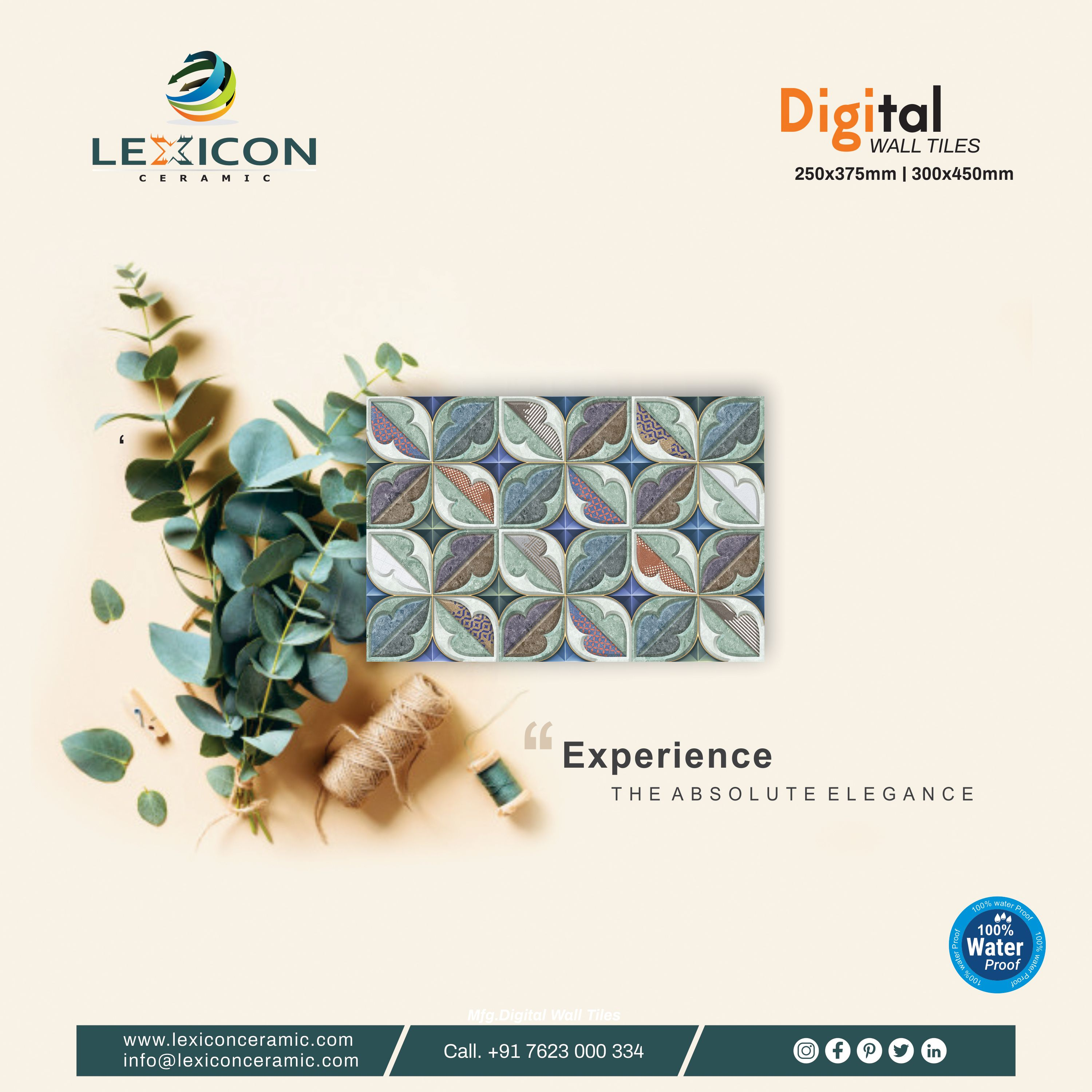 Experience The Absolute Elegance Digital Wall Tiles 250x375mm 300x450mm For More Visit Www Lexiconceramic Com Call Wall Tiles Digital Wall Tile Design