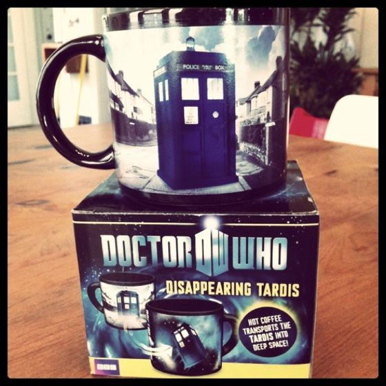 Disappearing TARDIS mug = most awesome birthday present.