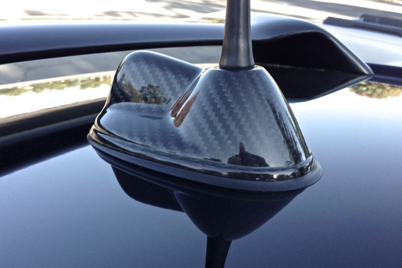 hight resolution of carbon fiber antenna base overlay for mini cooper models r55 and r56