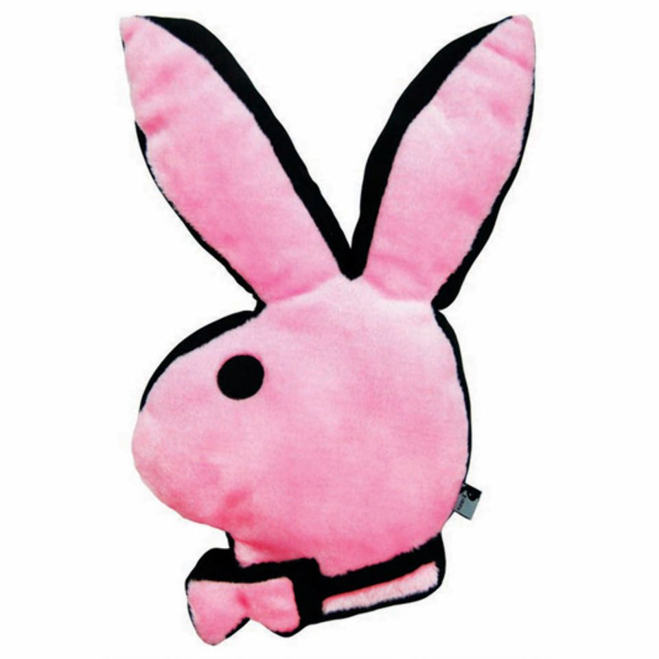 Playboy Bunny Head Pillow In Pink And Black