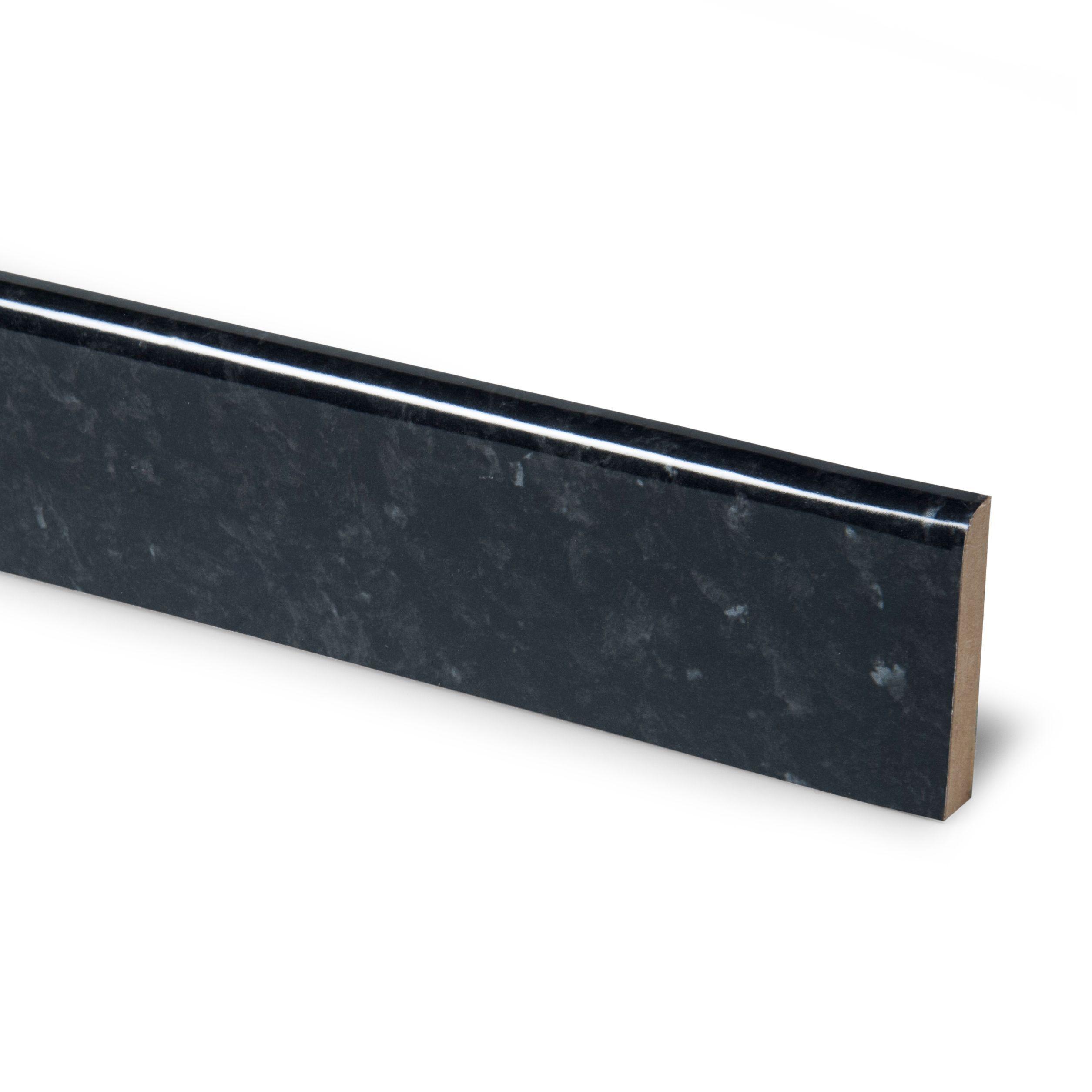 12mm Ebony Granite Laminate Worktop Upstand, Round Edge