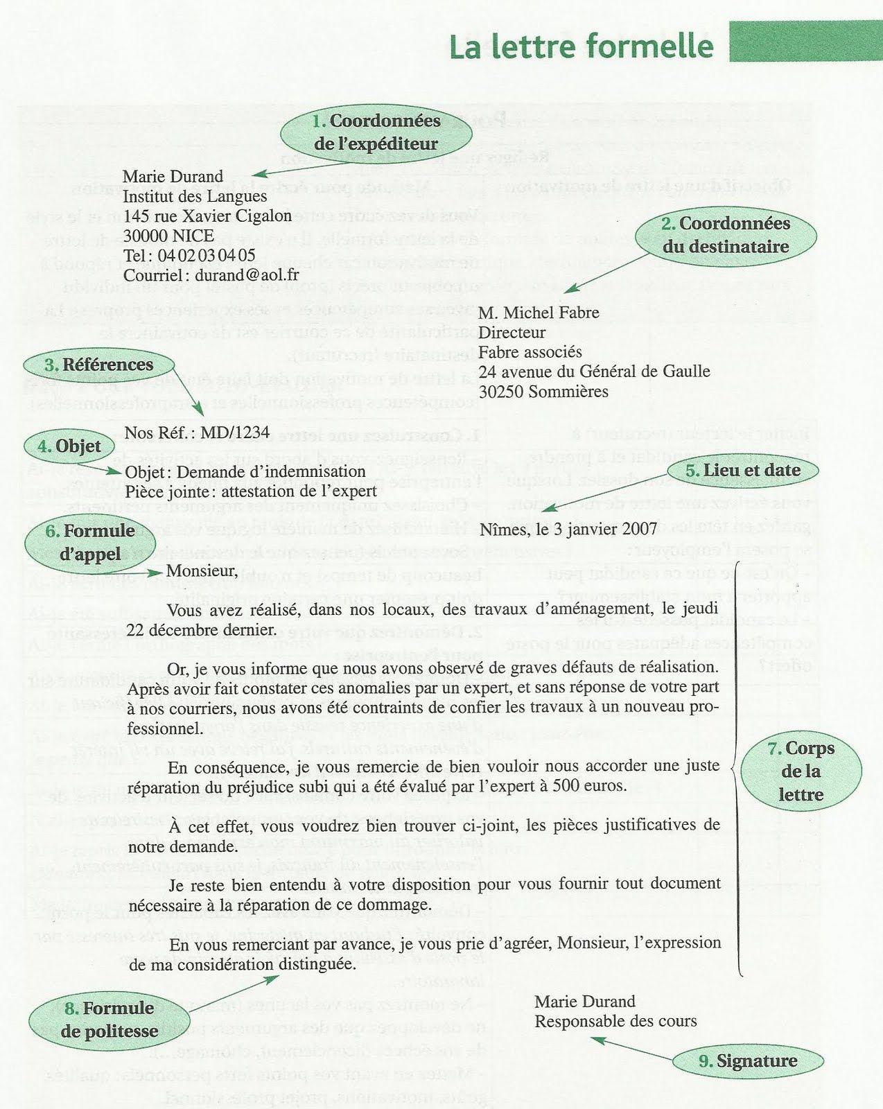 """Résultat de recherche d'images pour """"format lettre formelle français"""""""