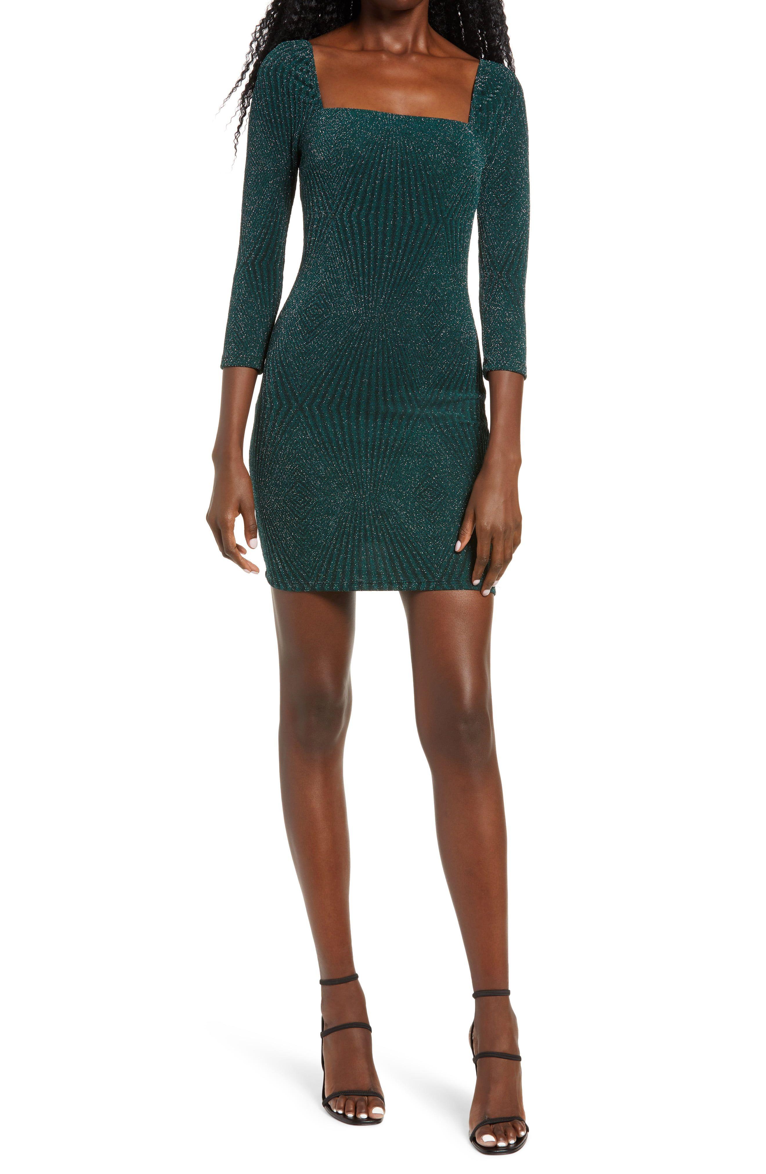 Row A Metallic Ribbed Body Con Minidress Nordstrom Mini Dress Long Sleeve Dress Clothes For Women [ 4048 x 2640 Pixel ]