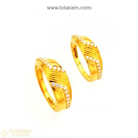 22K Gold Couple Wedding Bands With Cz 235GR4180 Buy this Latest