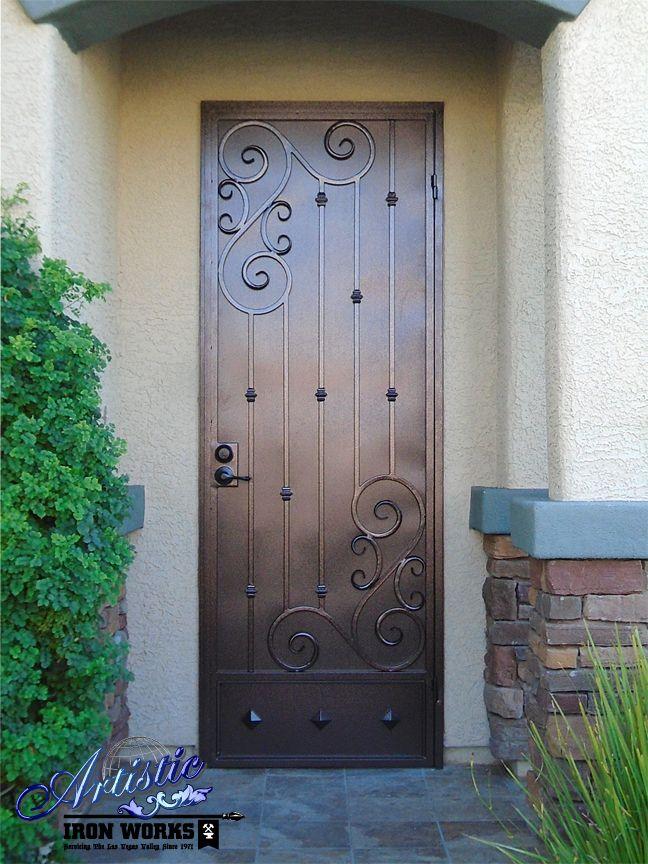 Wrought Iron Security Screen Door with Scroll Work and Kick Plate   SD0276Custom iron screen door  Not ur average  ugly screen door  . Entry Door Kick Plates. Home Design Ideas