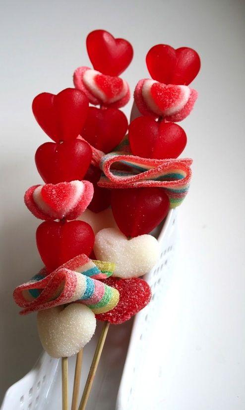 brochetas dulces Cocina Pinterest Dulces, Brochetas y San valentín
