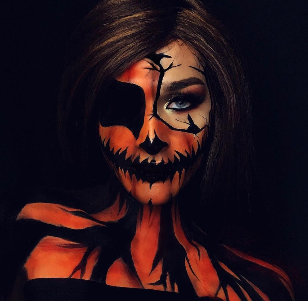 50 Pretty Scary Halloween Pumpkin Makeup Ideas Halloween Pumpkin Makeup Halloween Makeup Scary Scary Halloween Pumpkins