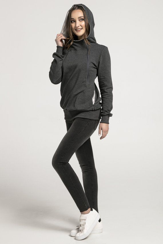 df29862b0729e Handmade hoodie with a gray zip. Cotton clothes. Nursing hoodie.  Breastfeeding-friendly fashion. Mat