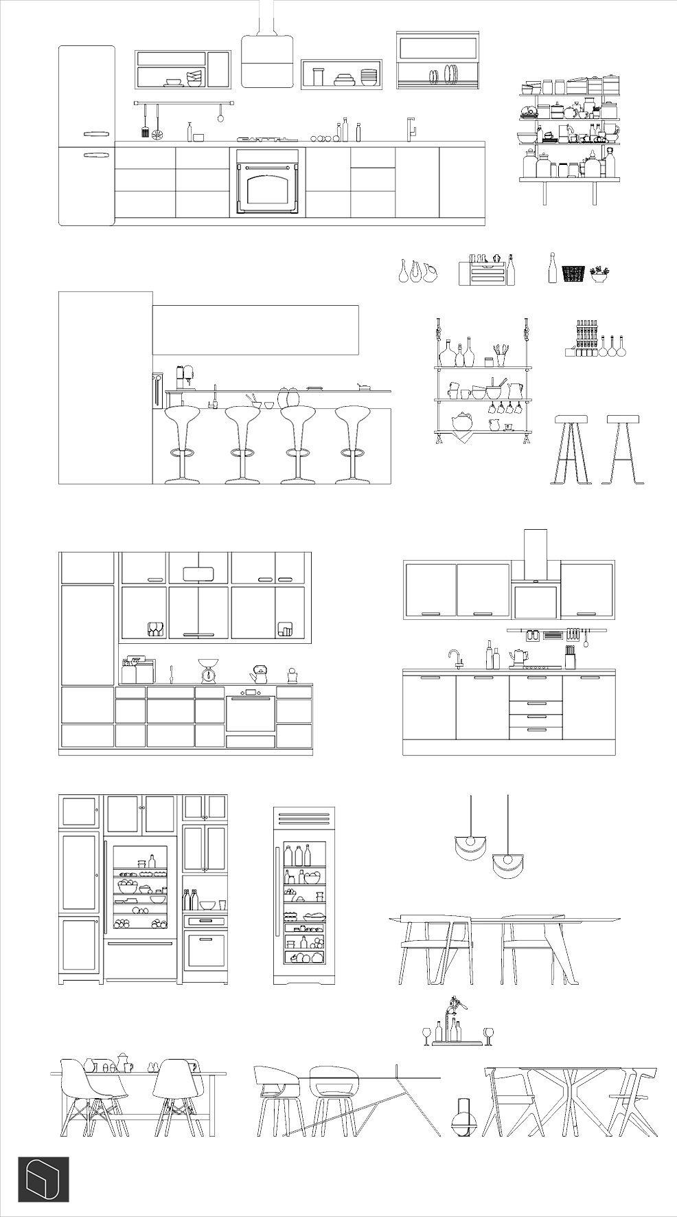 Modern Kitchen Dwg Bocetos De Diseno De Interiores Diseno De Planos Disenos De Unas