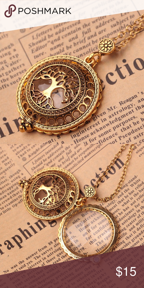 Solid Brass Necklace Style Magnifying Glass /& Pendant Lot of 24