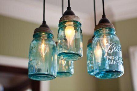 Mason Jar Chandelier Hanging Light Fixture Five Antique Quart Size Blue