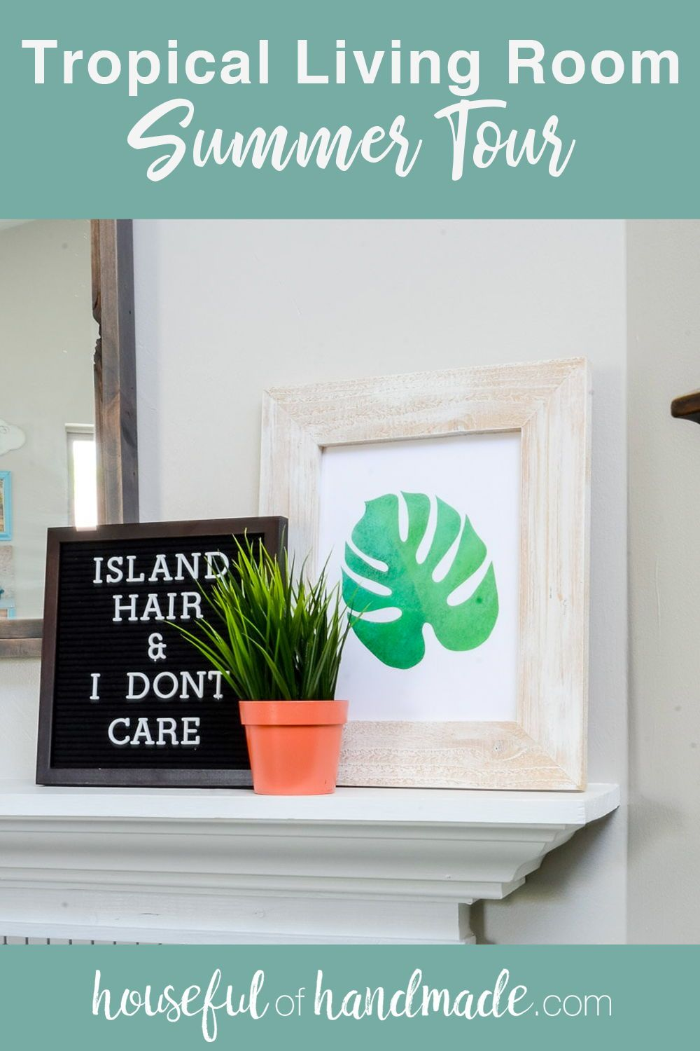 Create a tropical living room so you always feel like you are on vacation. It's easy to add some tropical home decor and create a beautiful tropical oasis at home. #SummerHomeTour #TropicalDecor #SummerDecorIdeas