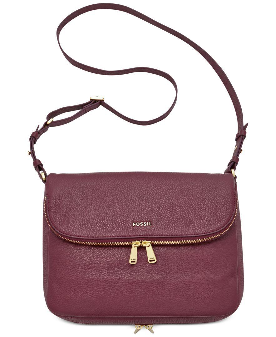 Fossil Preston Leather Flap Shoulder Bag Handbags Accessories Macy S In Dark Green 198