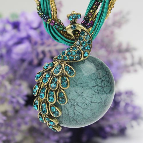 Latest Elegant Millet Chain Crystal Peacock Gem Pendant Necklace Jewelry Blue | eBay