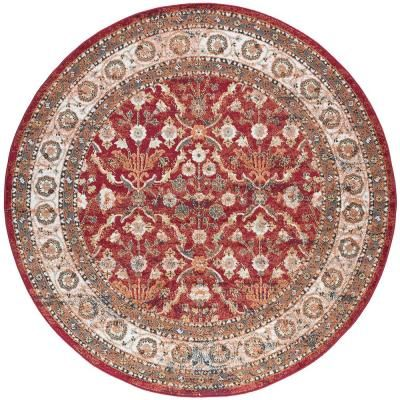 Tayse Rugs Milan Red 5 Ft X 5 Ft Round Area Rug Mln4300 6rnd