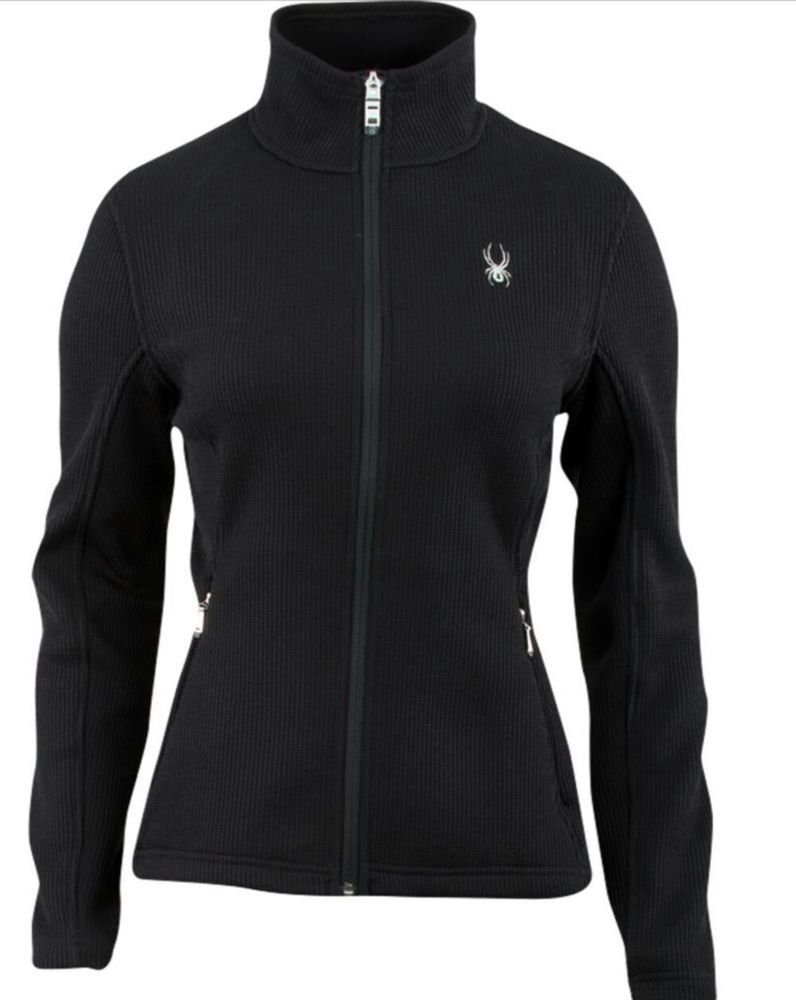 Women Spyder Virtue Black Full Zip Core Sweater Jacket Size Small