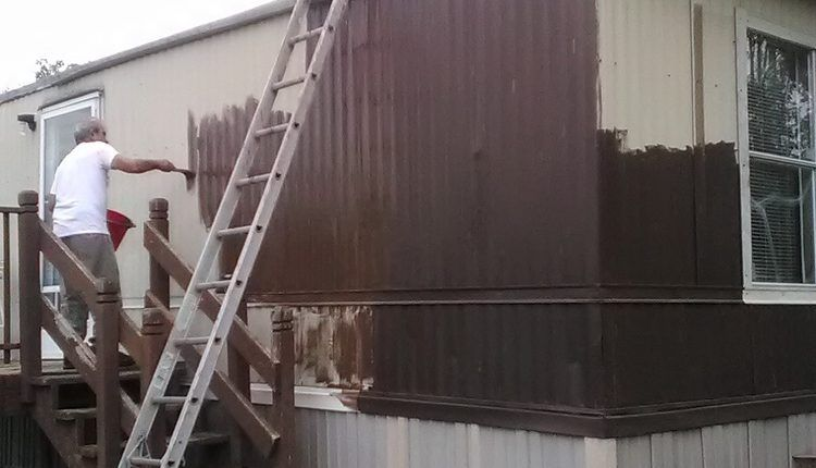How To Paint Metal Siding On A Mobile Home Mobile Home Living Mobile Home Siding Mobile Home Decorating Metal Siding