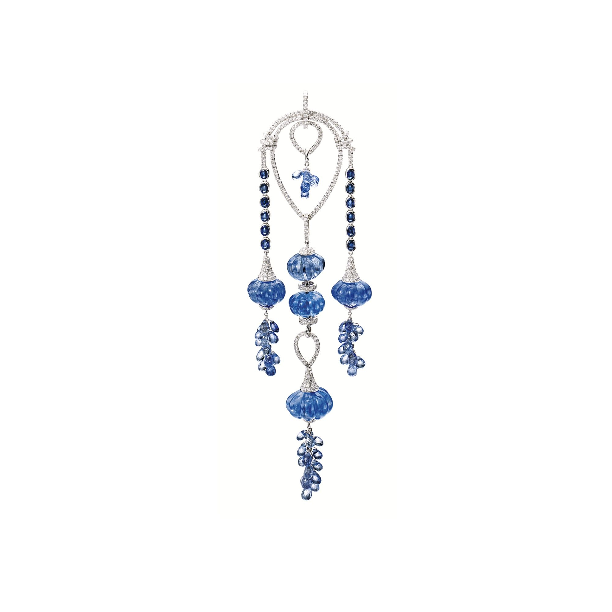 non rose earrings briolette collection dangle sapphire pave italian gold jewelry branded and diamond
