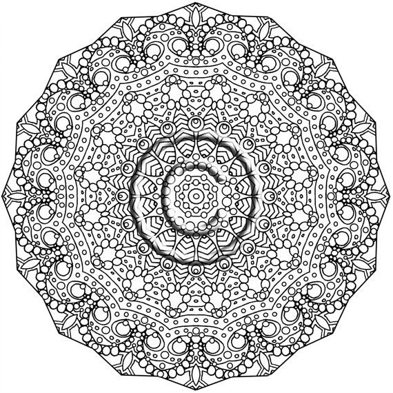 instant pdf download coloring page hand drawn zentangle inspired roll with me kaleidoscope mandala abstract zendoodle doodle by kat