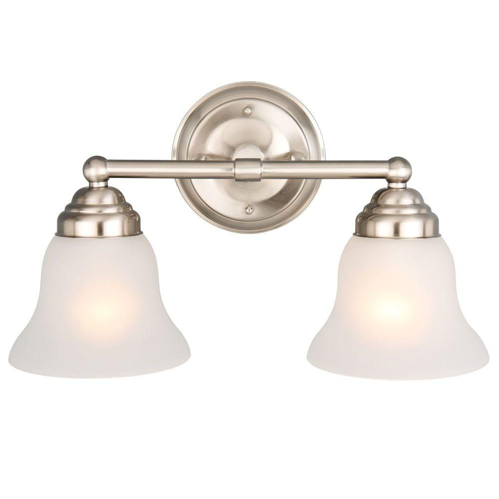 Hampton bay light brushed nickel vanity light with frosted glass