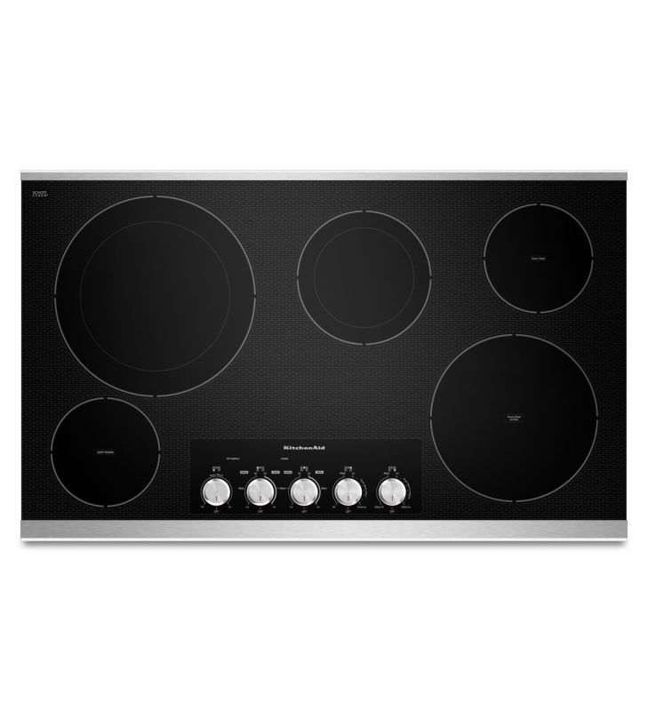 Kitchenaid Kecc664b 36 Inch Wide Electric Cooktop With Even Heat Technology Stainless Steel Cooktops Electric Cooktop Stainless Steel Cooktop Cooktop