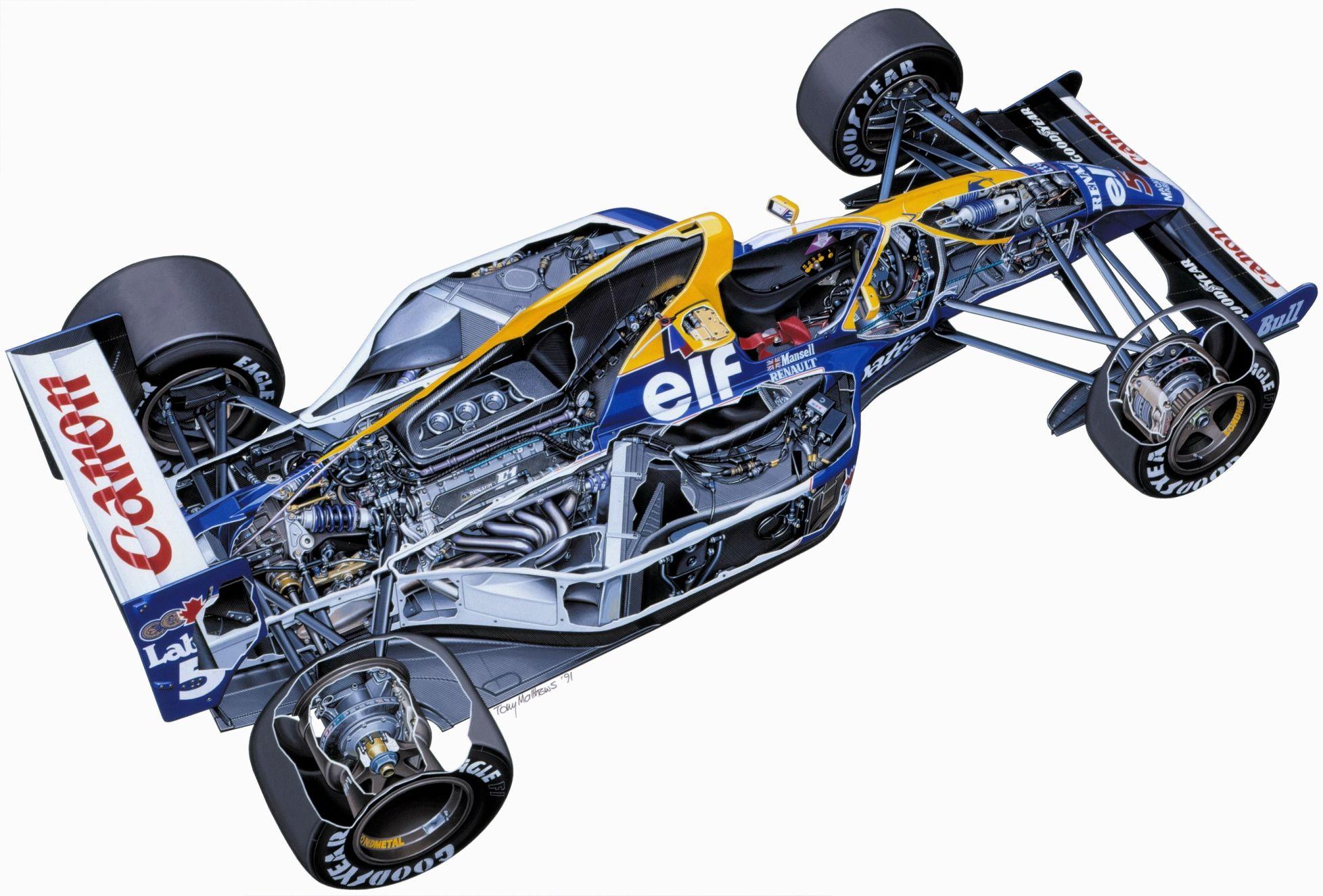 Chassis design of f1 car - Cutaway Drawing Diagramas Em 3d De Maquinas Mostrando Partes Internas Fotos Car Illustrationcutawayf1