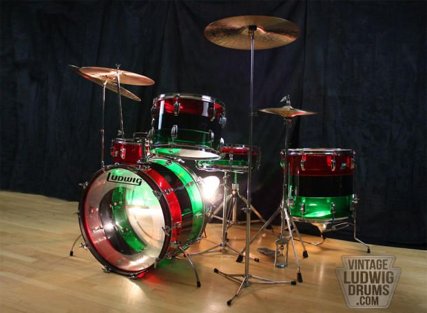 Ludwig Vistalite Pattern A Red Black Green 6pc Shell Pack Damen Drum Co Reverb Drums Drum And Bass Ludwig Drums
