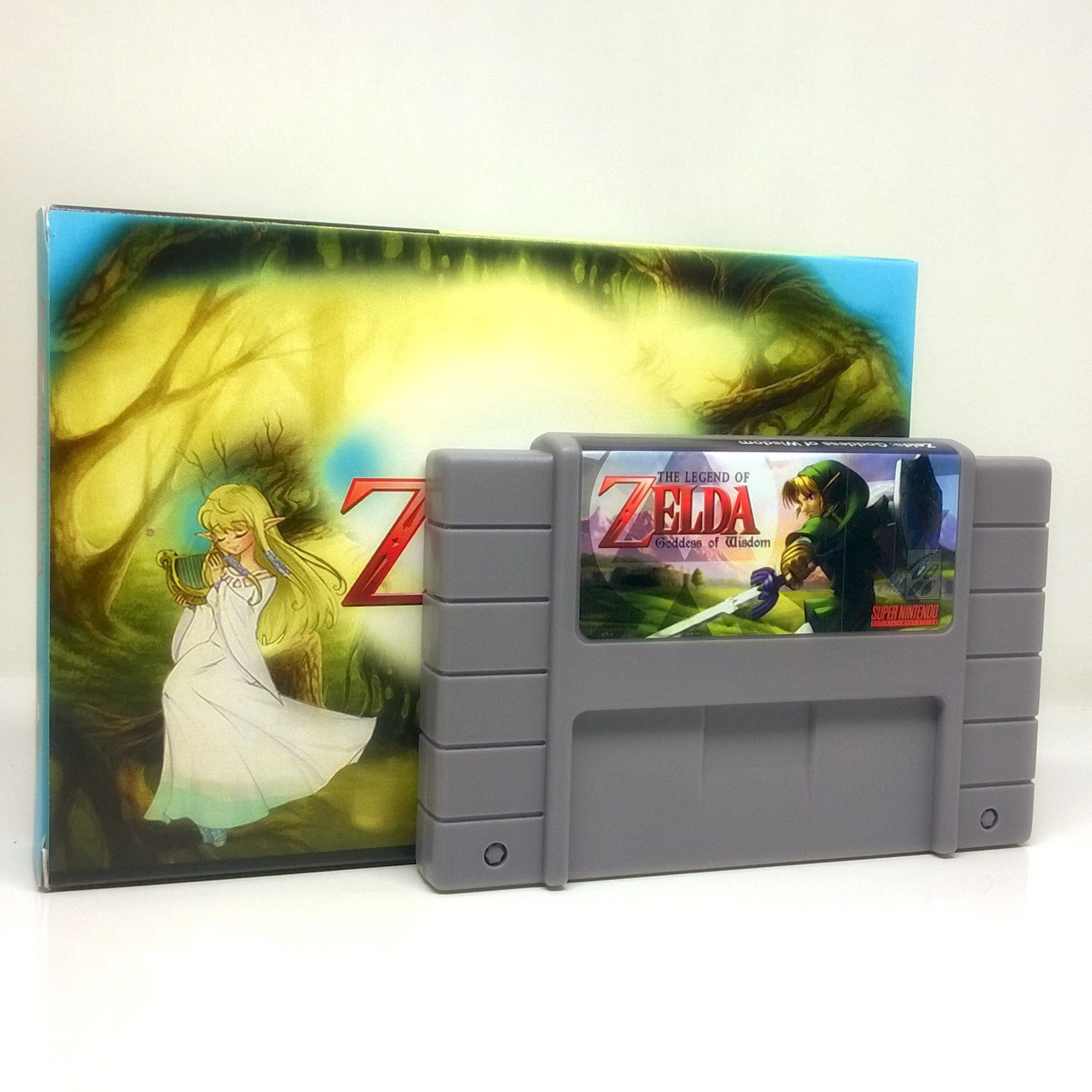 Description The Legend of Zelda: Goddess of Wisdom SNES Super Nintendo game, includes box and game cartridge only. Cleaned, tested and comes with a FREE box protector! Another great fan-made game base