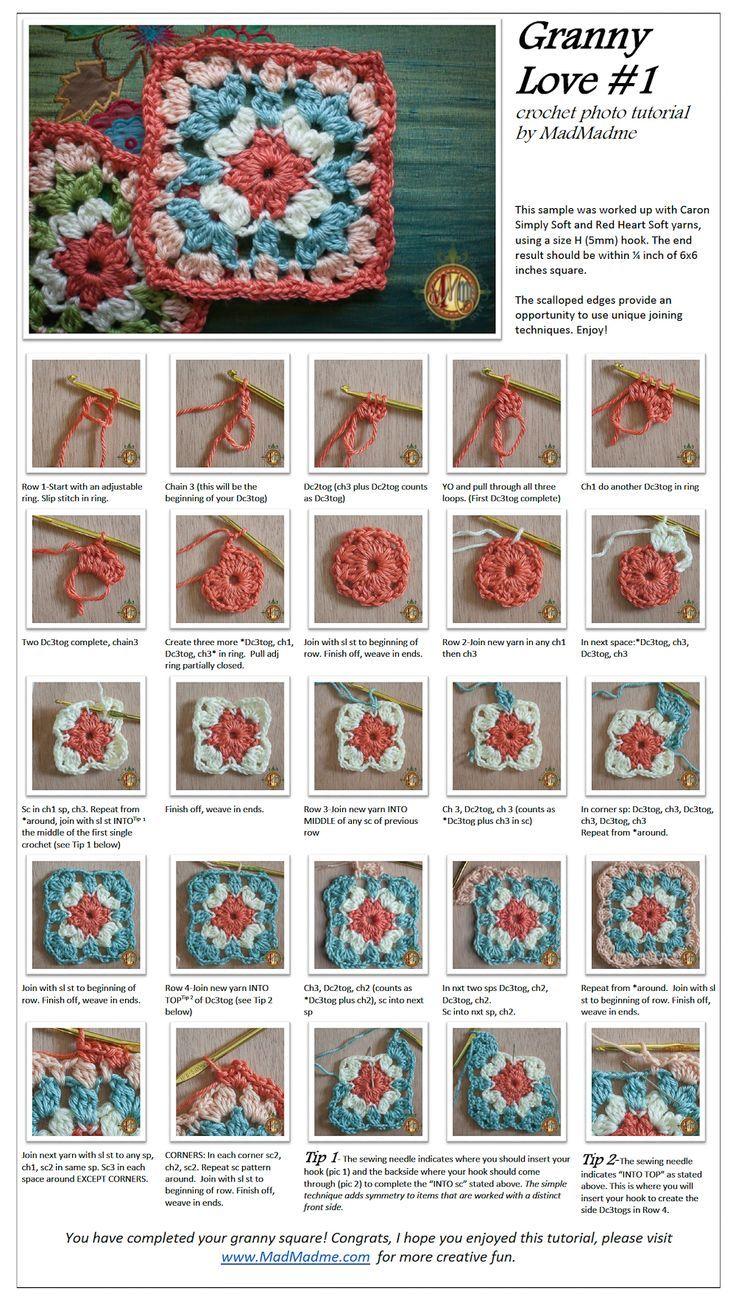 Granny Love Square: | crochet | Pinterest | Mandalas tejidas ...