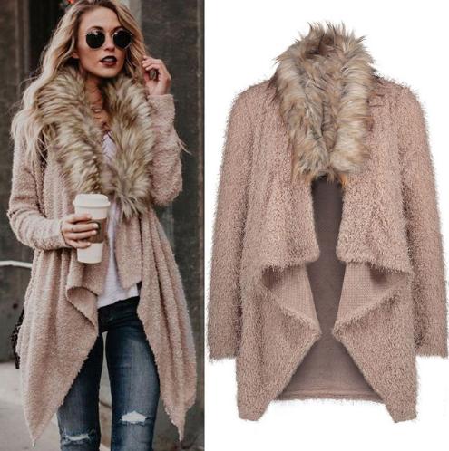 745ddc647b83 Fashion Luxury Women Knit Faux Fur Long Sleeve Coat Tops Cardigan Sweaters Parka  Outerwear Ladies Spring Coat www.essish.com/