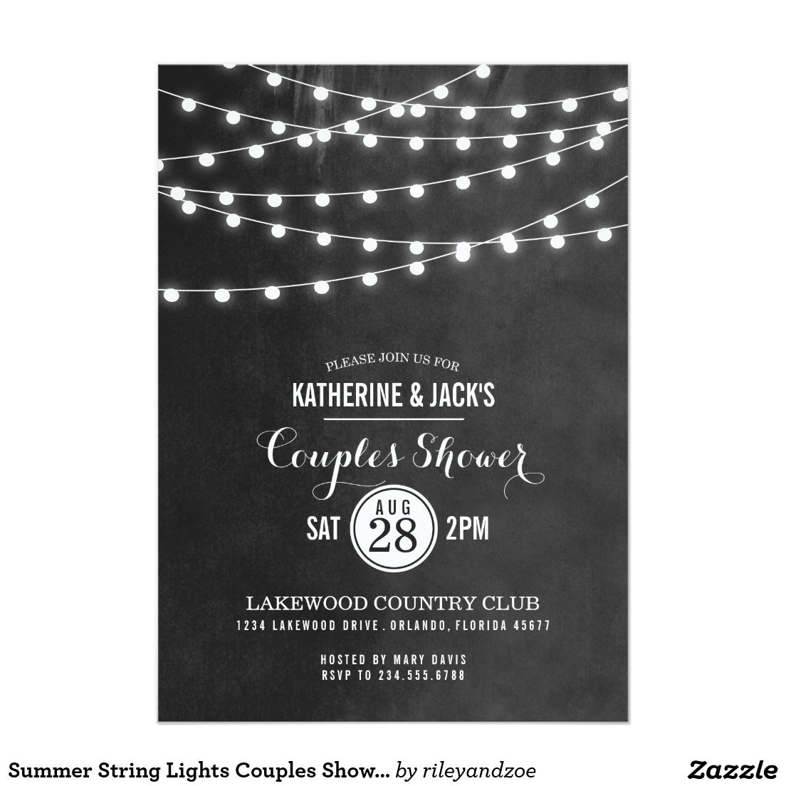 Summer String Lights Couples Shower Invitation 5\