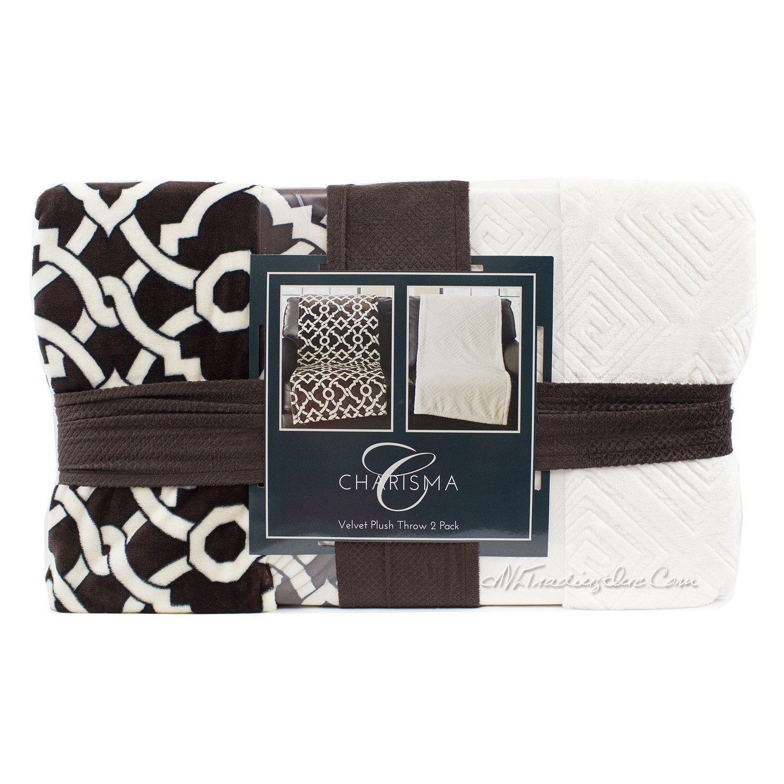 "Charisma Velvet Plush Throw 2 Pack Warm Soft Cozy Oversize Blanket 60x70"""