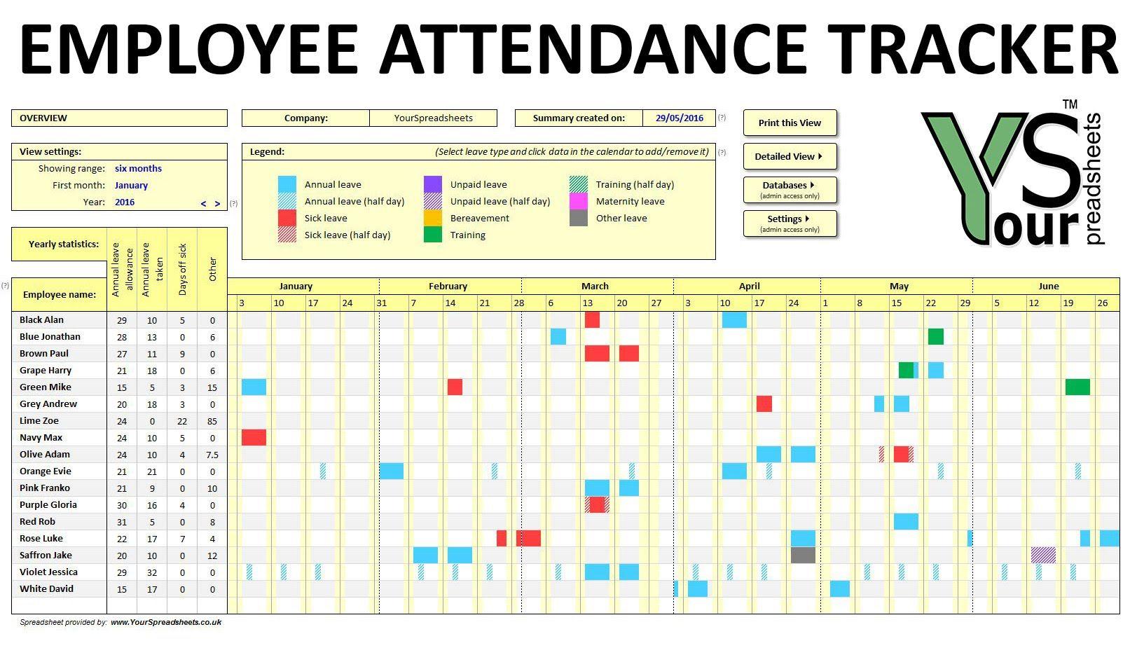 Image Result For Excel Attendance Sheet