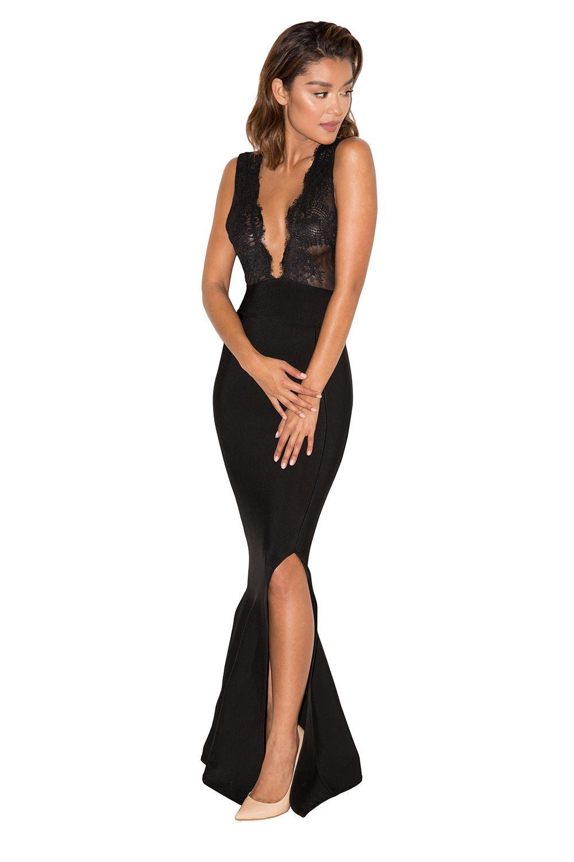 2567cedd9abd5 Clothing : Max Dresses : 'Balere' Black Bandage and Lace Maxi Dress ...