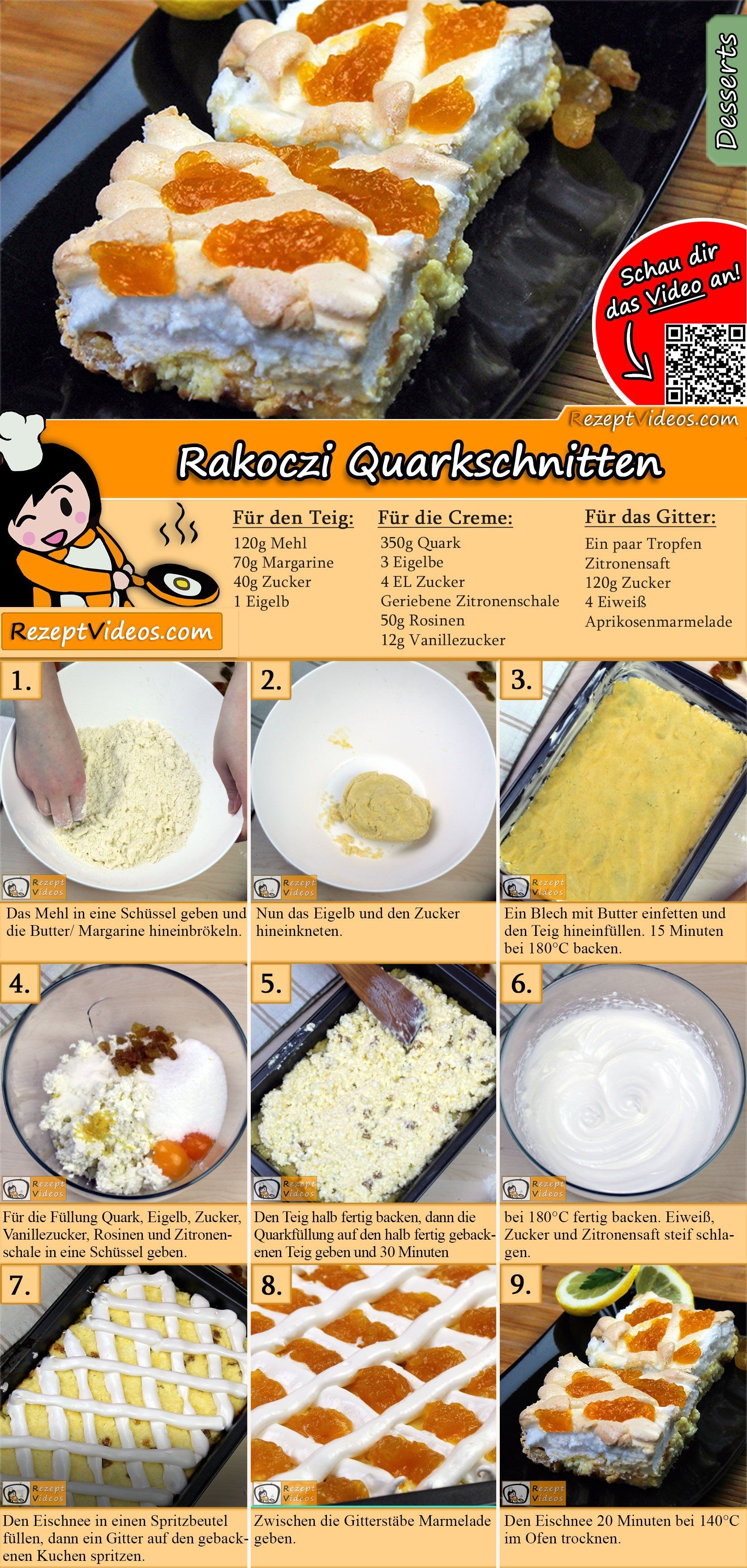 Rakoczi Quarkschnitten Rezept In 2019 Kuchen Rezepte Mit Videos